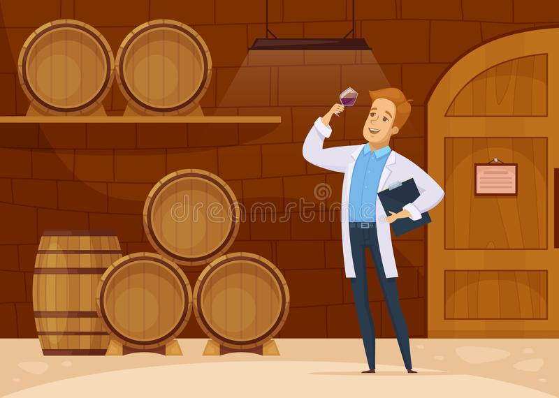 Winery Storage Cellar Cartoon Poster. Winery production with winemaker in storage cellar tasting wine aging in oak barrels cartoon composition vector stock illustration