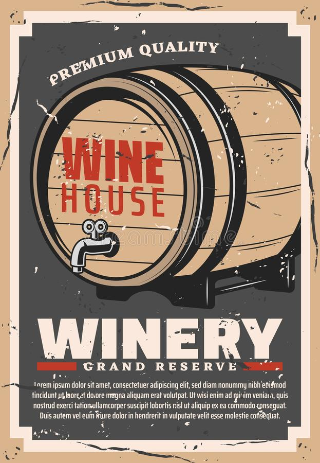 Barrel of wine. Winery and winemaking business stock illustration