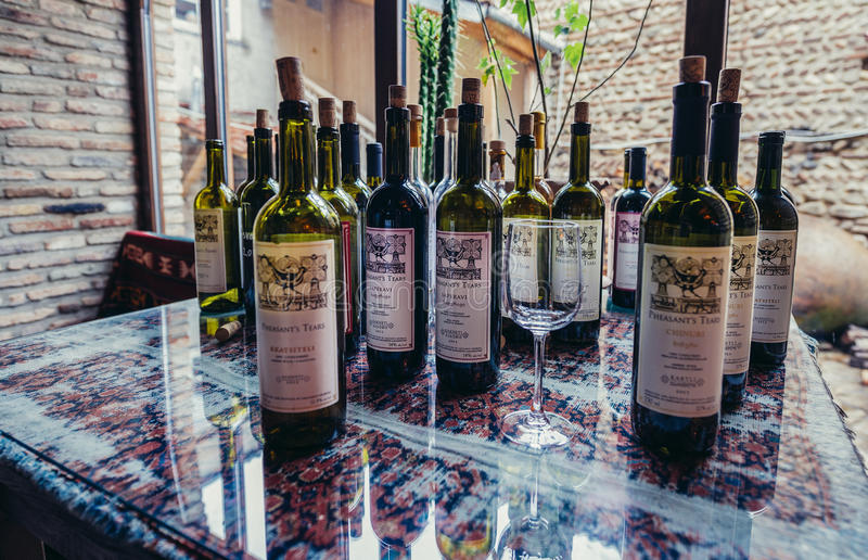 Winery in Sighnaghi. Sighnaghi, Georgia - April 24, 2015. wine bottles in Pheasant's Tears winery in Sighnaghi, small town in Kakheti district royalty free stock image