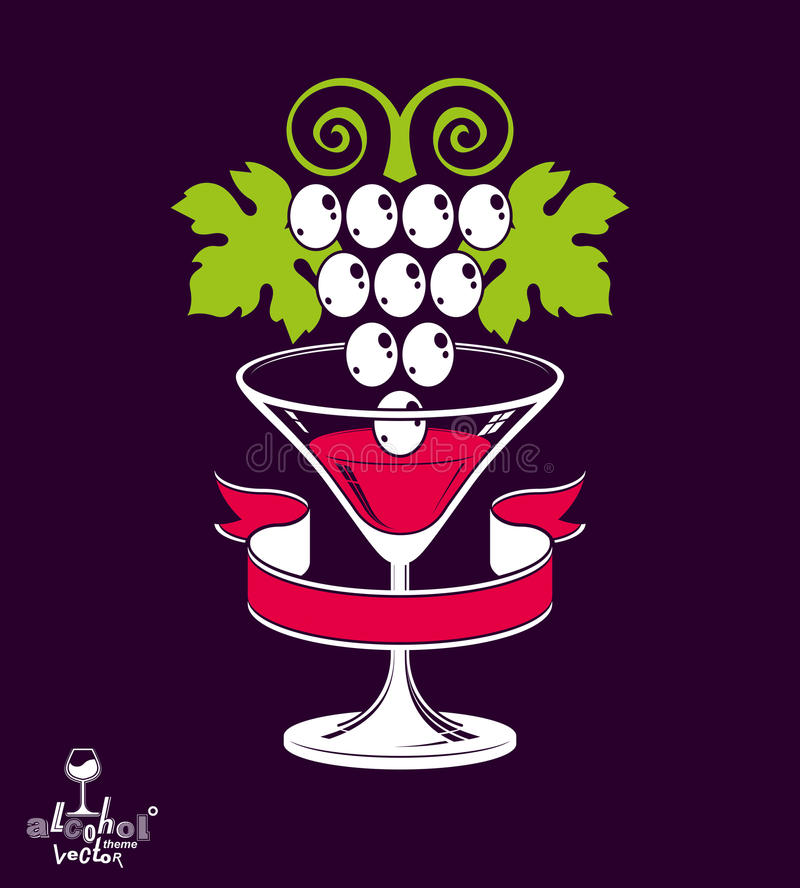 Winery theme vector illustration. Stylized half full martini glass with grapes vine placed over dark vector illustration