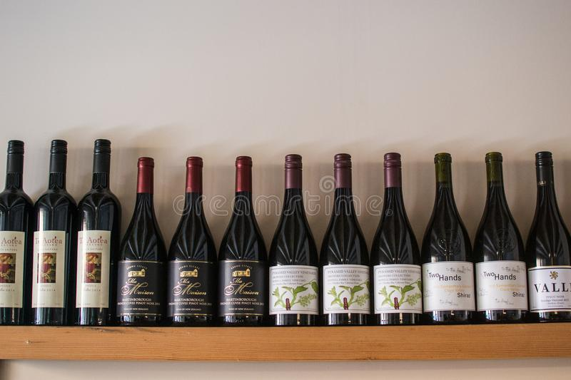 Wines in a restaurant on the wall. royalty free stock photos
