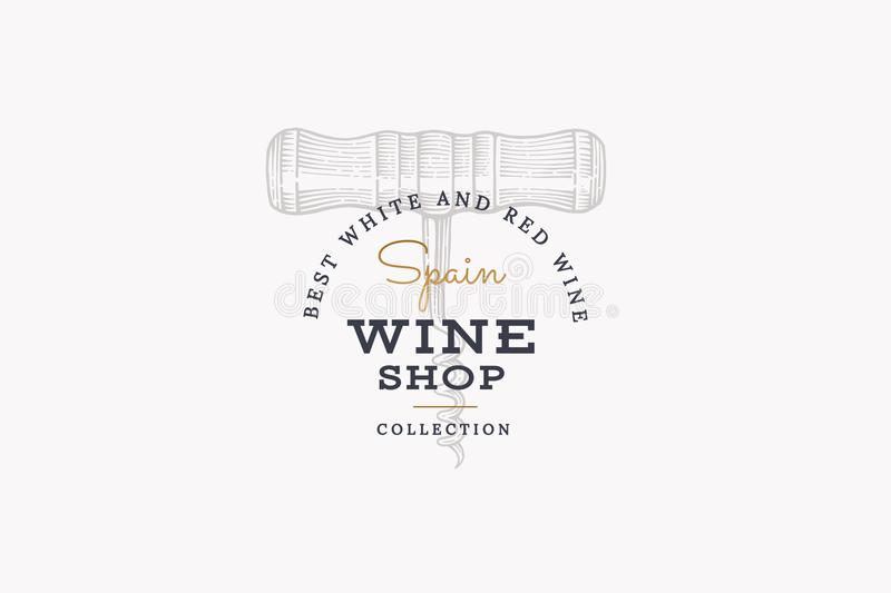 Wines of Spain. Vector logo wine shop with image corkscrew on light background. vector illustration