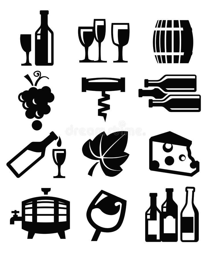 Winesymbol vektor illustrationer