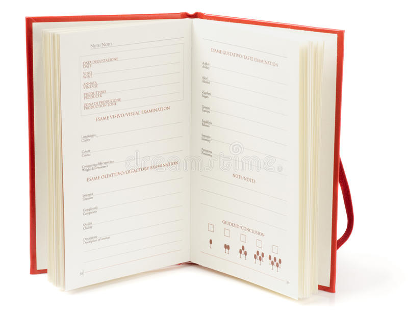 Download Winetasting Notebook On White Background Stock Photos - Image: 17533683