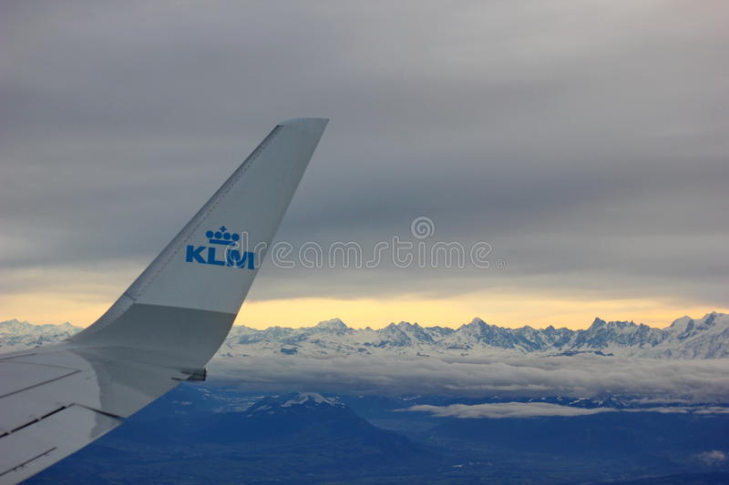 wing aircraft airlines klm mountains in the background royalty free stock images
