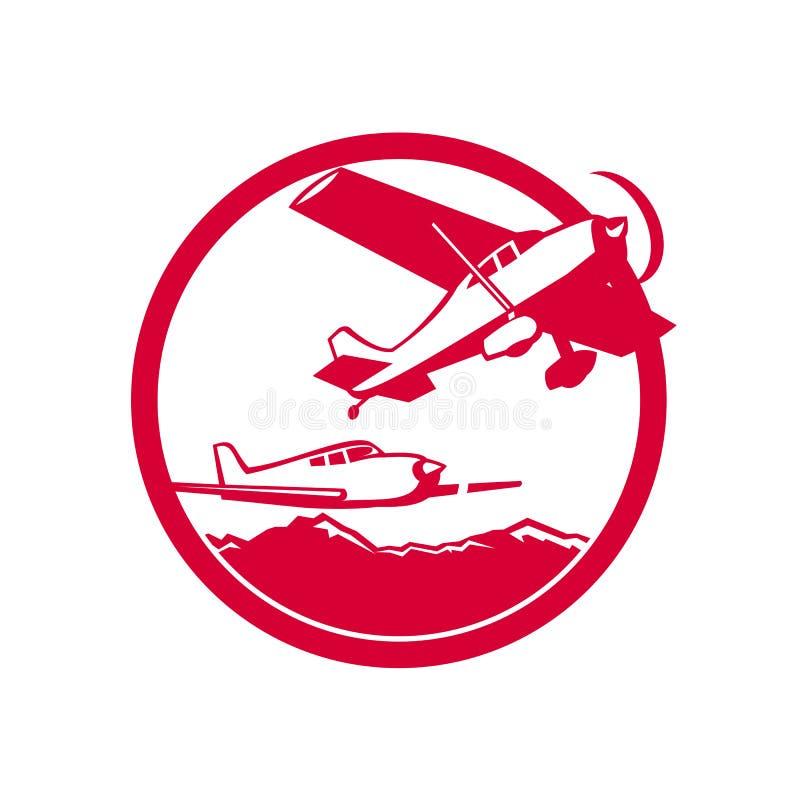 Wing Aircraft Taking Off Circle fixo retro ilustração royalty free