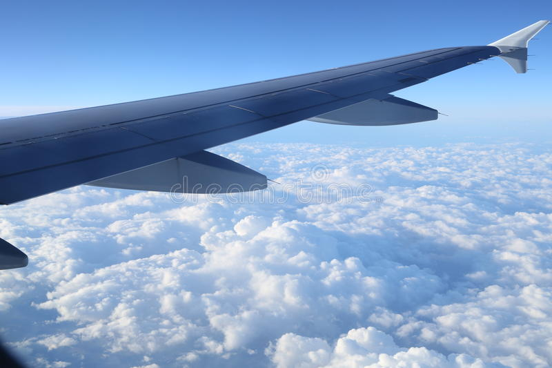 Wing aircraft. View from the airplane and wing aircraft royalty free stock images