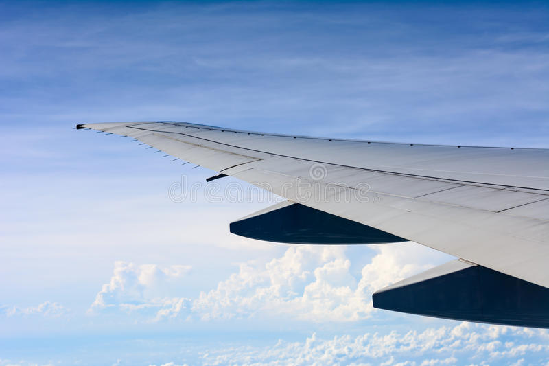 Wing of airplane. royalty free stock images