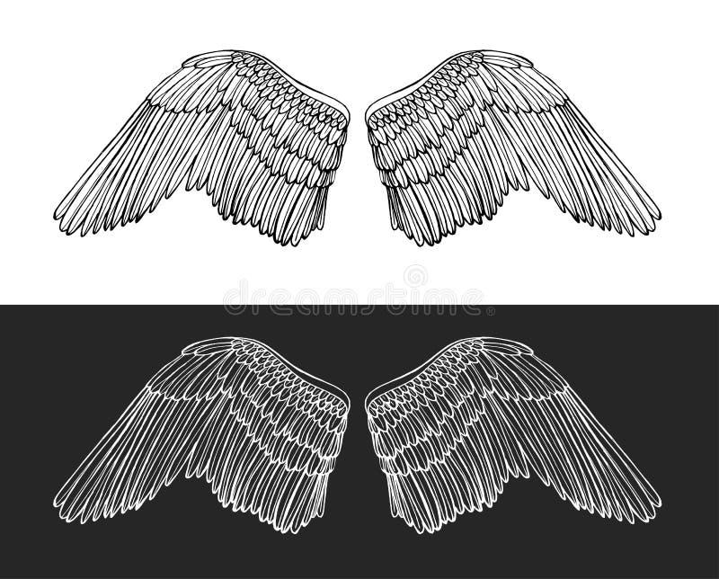 Wing Angel Hand Draw Sketch Vecteur illustration stock