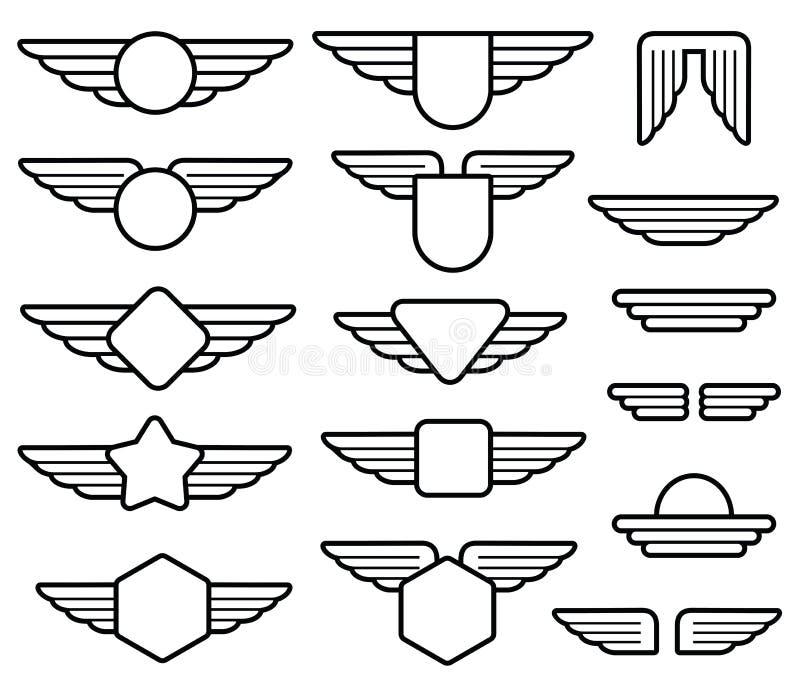 Wing army emblems, aviation badges, pilot labels line vector set vector illustration