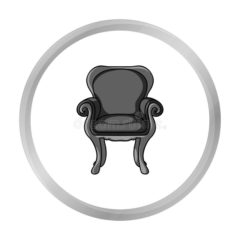 Wing-back chair icon in monochrome style isolated on white background. Furniture and home interior symbol stock vector. Wing-back chair icon in monochrome style royalty free illustration