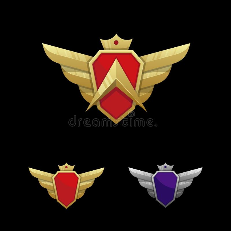Wing Emblem Illustration Vector Template stock illustrationer