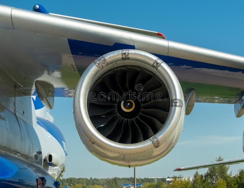 Wing and engine blades of the Soviet and Russian heavy military transport aircraft IL-76 LL Flying Laboratory Candid stock photo