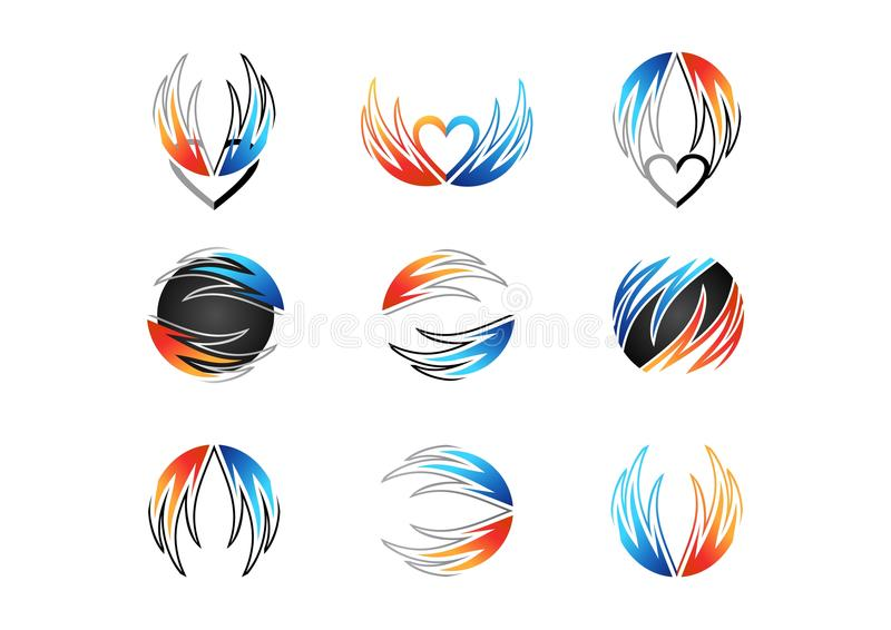 Wing, flame, heart, logo, fire, love, set of concept energy symbol icon vector design. Wings flames heart logo, fire love set of concept energy symbol icon stock illustration