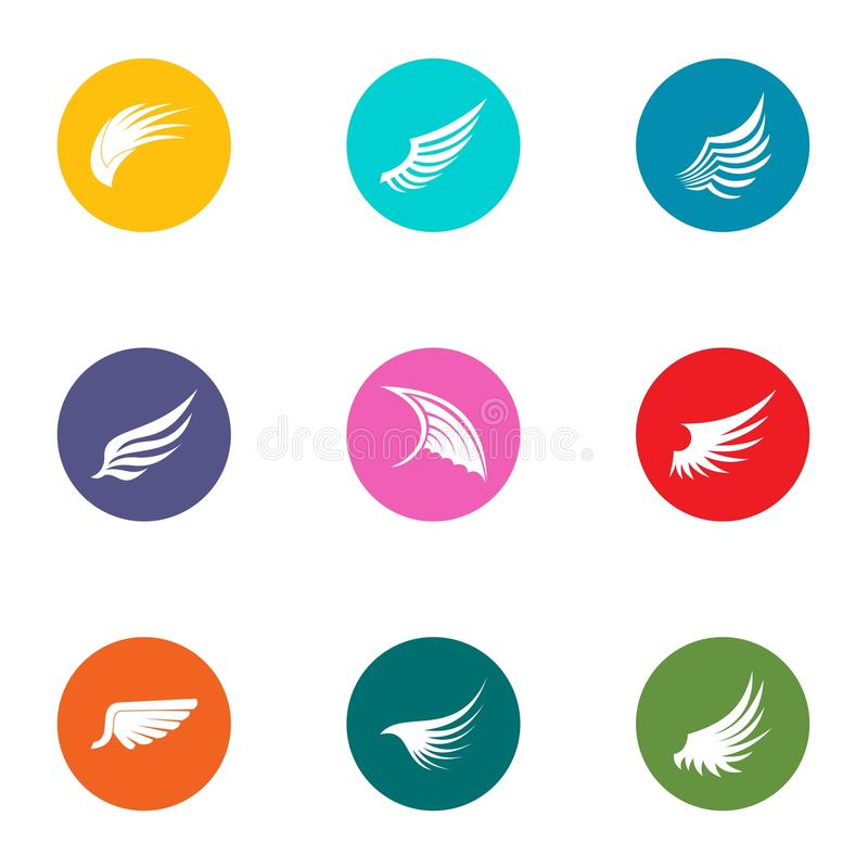 Wing icons set, flat style royalty free illustration