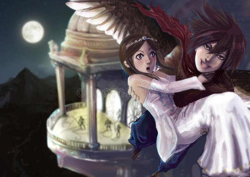 A wing man stealing the princess out of the c royalty free illustration