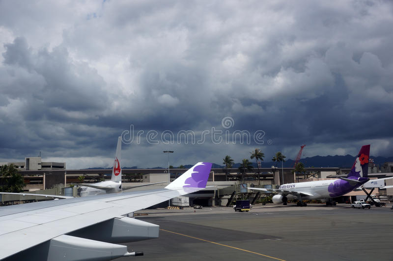 Wing of plane and Hawaiian Airlines and Japan Airlines (J-Air) a royalty free stock images