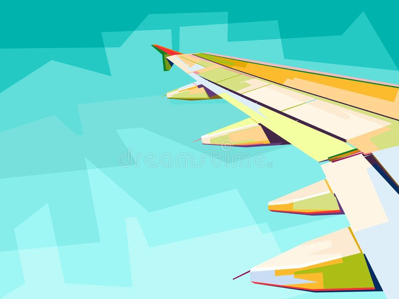 wing plane view from window vector illustration