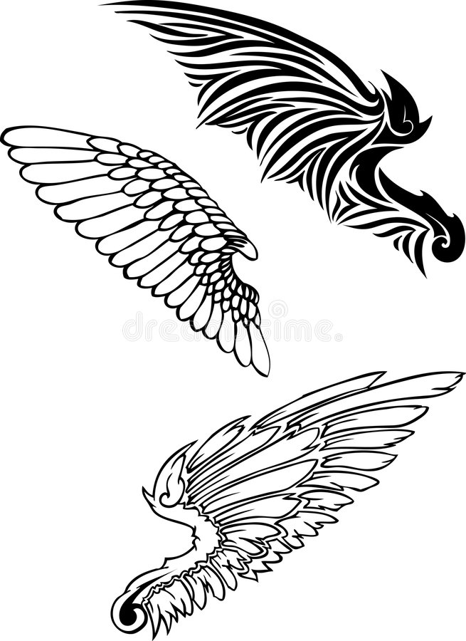 Wing silhouettes stock images