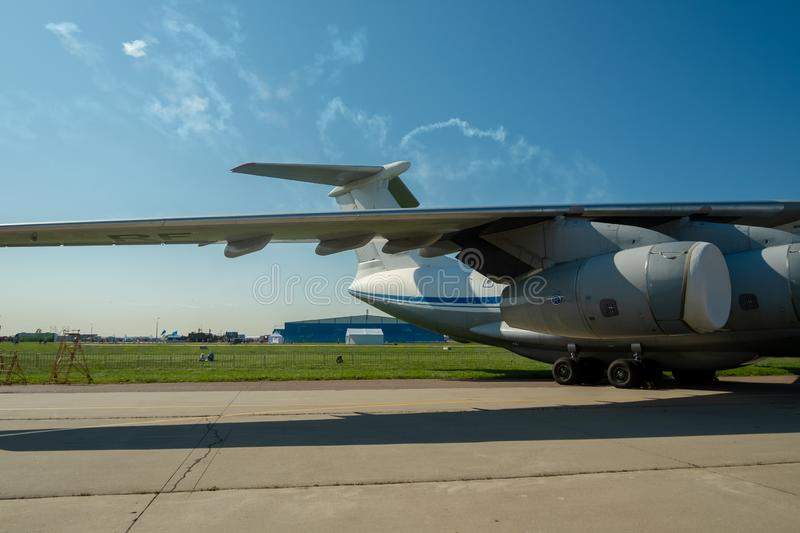Wing, tail, engine and chassis of the Soviet and Russian heavy military transport aircraft Il-76 MD Candid-B.  stock photos