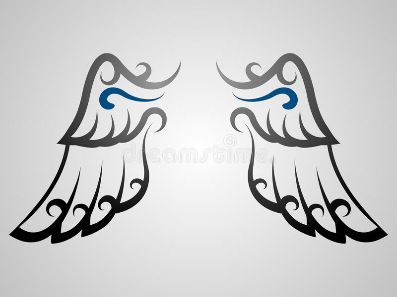 Download Wing Tattoo stock vector. Image of curl, flight, abstract - 10532903