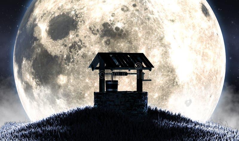 Wing Well E Moon Silhouette illustrazione di stock