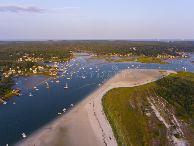 Wingaersheek Beach, Cape Ann, Massachusetts, USA. Wingaersheek Beach aerial view at sunset in Gloucester, Cape Ann, Massachusetts, USA stock photos