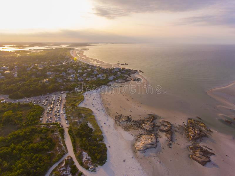 Wingaersheek Beach, Cape Ann, Massachusetts, USA. Wingaersheek Beach aerial view at sunset in Gloucester, Cape Ann, Massachusetts, USA royalty free stock images