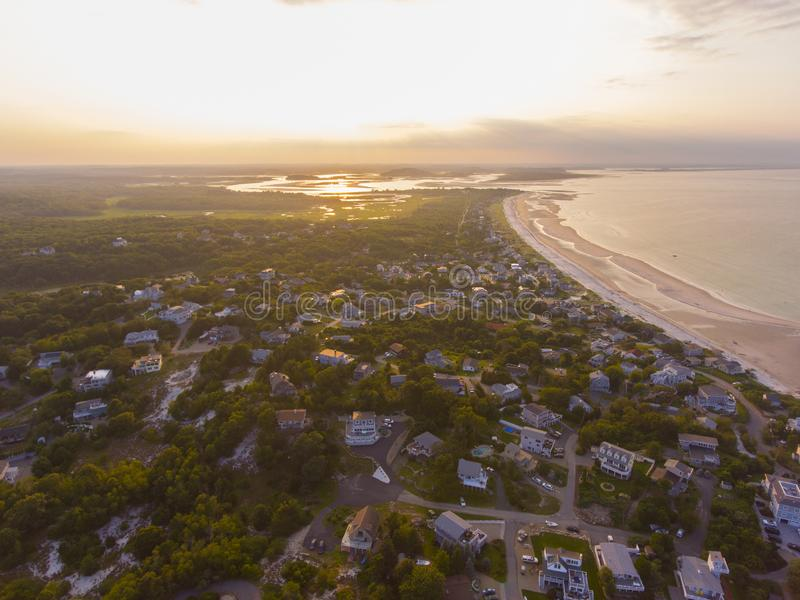 Wingaersheek Beach, Cape Ann, Massachusetts, USA. Wingaersheek Beach aerial view at sunset in Gloucester, Cape Ann, Massachusetts, USA royalty free stock photography