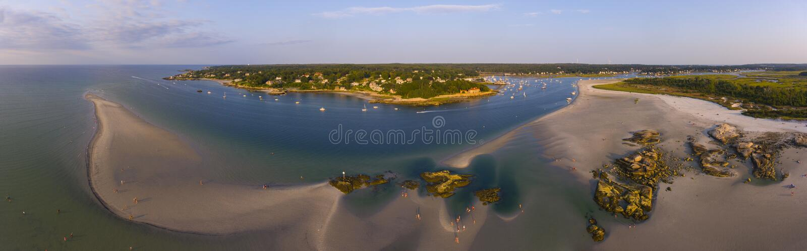 Wingaersheek Beach, Cape Ann, Massachusetts, USA. Wingaersheek Beach aerial view panorama at sunset in Gloucester, Cape Ann, Massachusetts, USA stock images