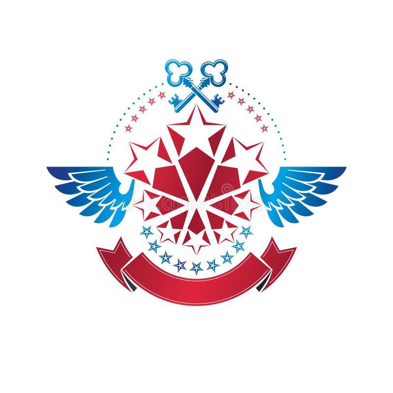 Winged ancient pentagonal Star emblem decorated with keys, security theme. Heraldic  design element, guaranty symbol. Retro style label, heraldry logo royalty free illustration