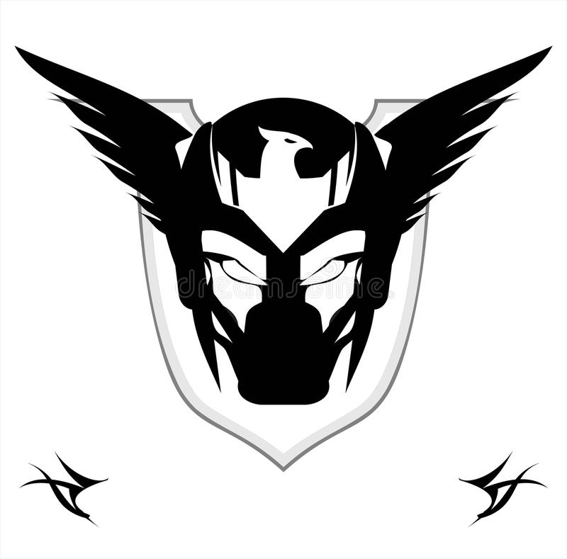Free Winged Black Mask Over The Shield Royalty Free Stock Photos - 116151738