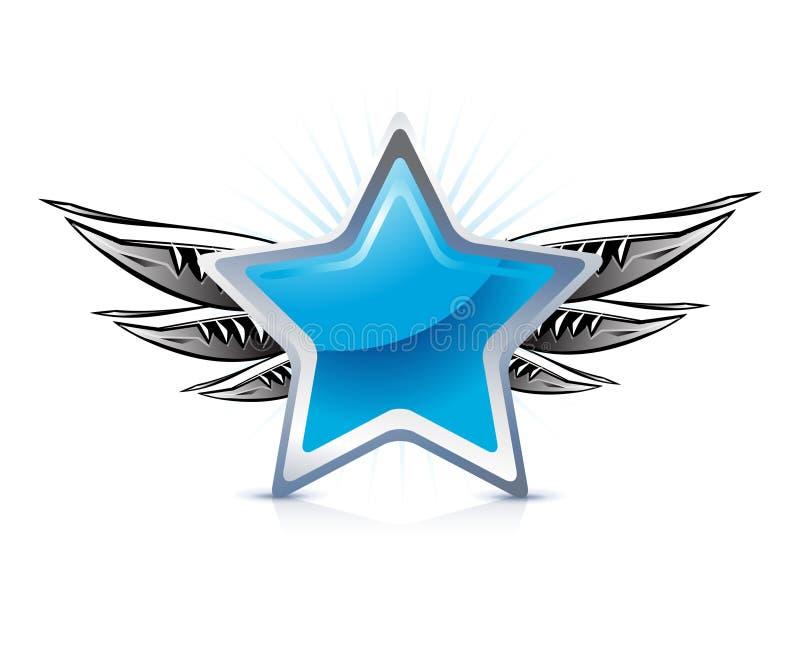 Winged blauer Stern lizenzfreie abbildung