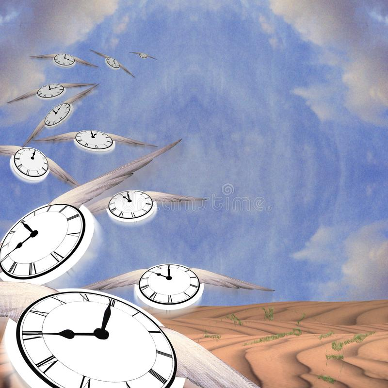 Flow of time. Winged clocks represents flow of time vector illustration