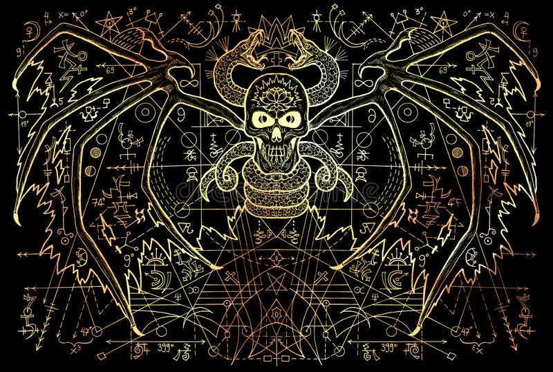 Winged demon and snake with mysterious symbols and geometric line on black stock illustration