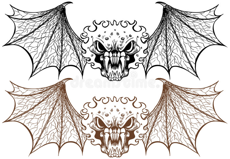 Download Winged Demons stock vector. Image of biker, bones, isolated - 9292631