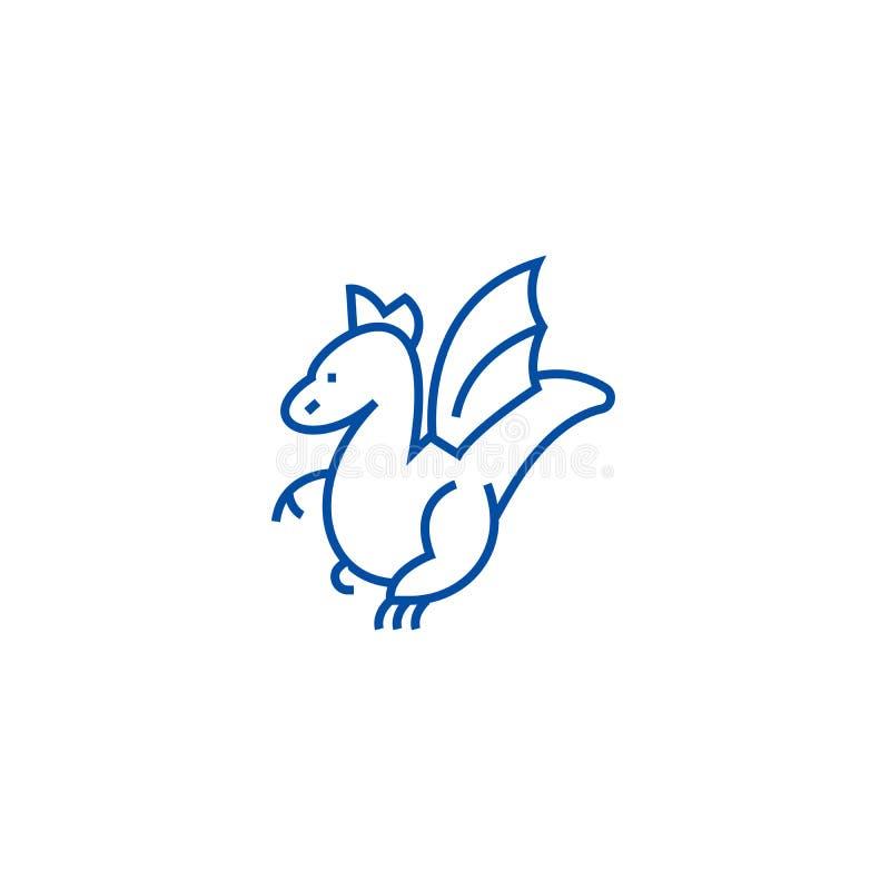 Winged dragon line icon concept. Winged dragon flat  vector symbol, sign, outline illustration. vector illustration