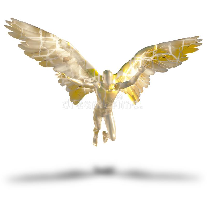Faceless angel. Winged faceless angel made of gold. Human elements were created with 3D software and are not from any actual human likenesses royalty free illustration