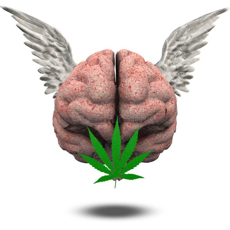 Winged Gehirn mit Marihuana lizenzfreie abbildung