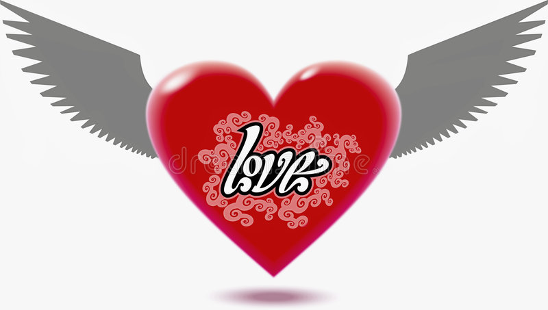 Winged Heart. The winged Heart. Vector image vector illustration