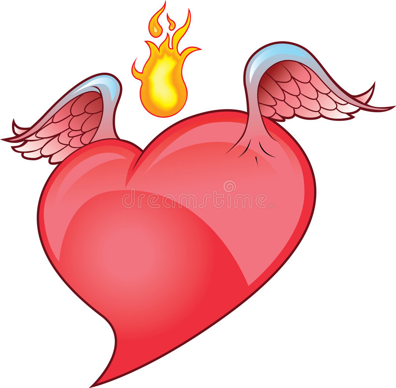 Download Winged Heart with Flame stock vector. Image of flame, beat - 9129696
