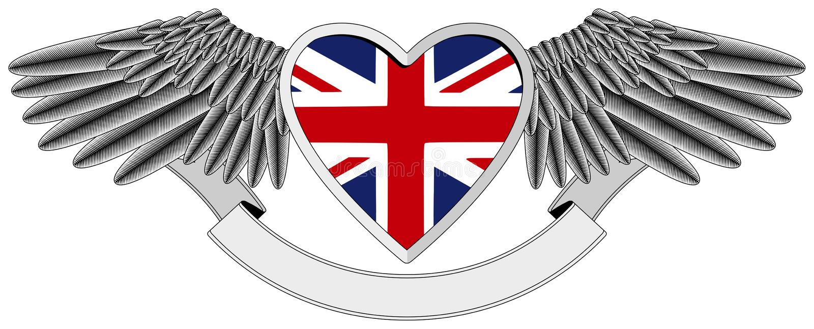Winged heart with UK Flag