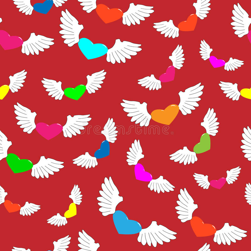 Winged hearts stock photo