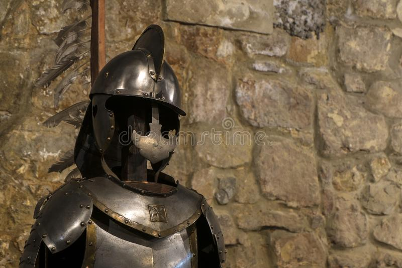 Winged hussar armor is the heavy cavalry of the Polish army. 2nd half of the 17th century, steel, brass royalty free stock images