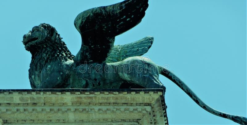 Winged lion of Venice - symbol of the city on the Column of San Marco stock photos