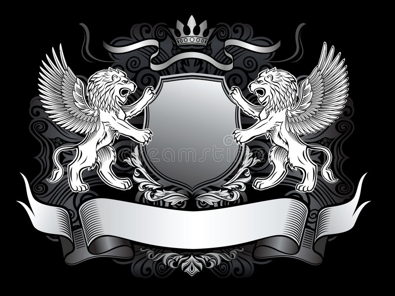 Winged Lions And Shield Gerb Royalty Free Stock Photography