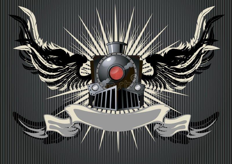 Winged locomotive. Dark poster with ribbon. Vector Illustration stock illustration
