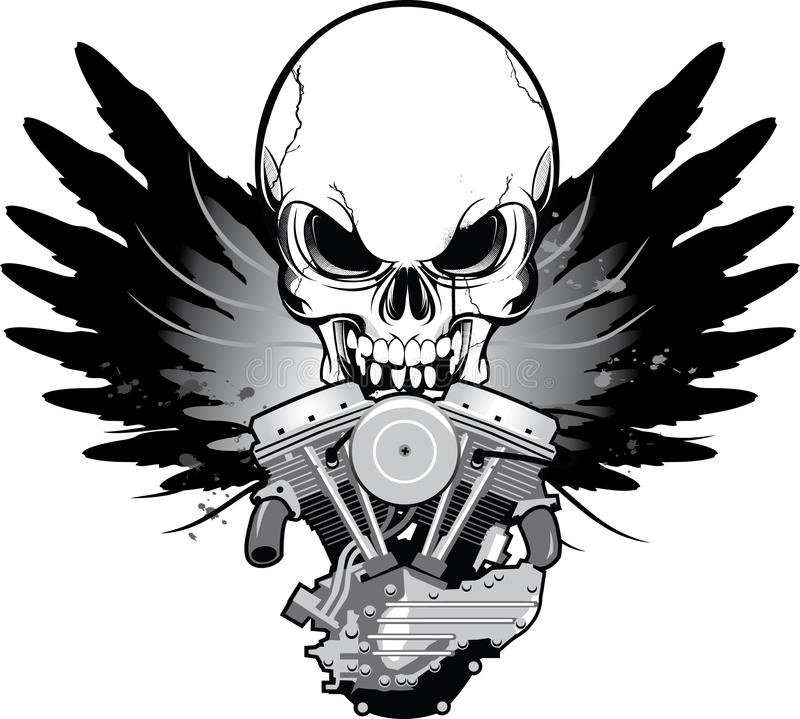 Winged motorcycle engine with skull vector illustration