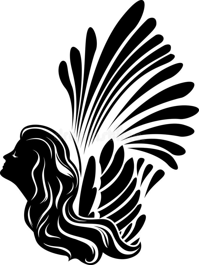 Winged muse face stock illustration