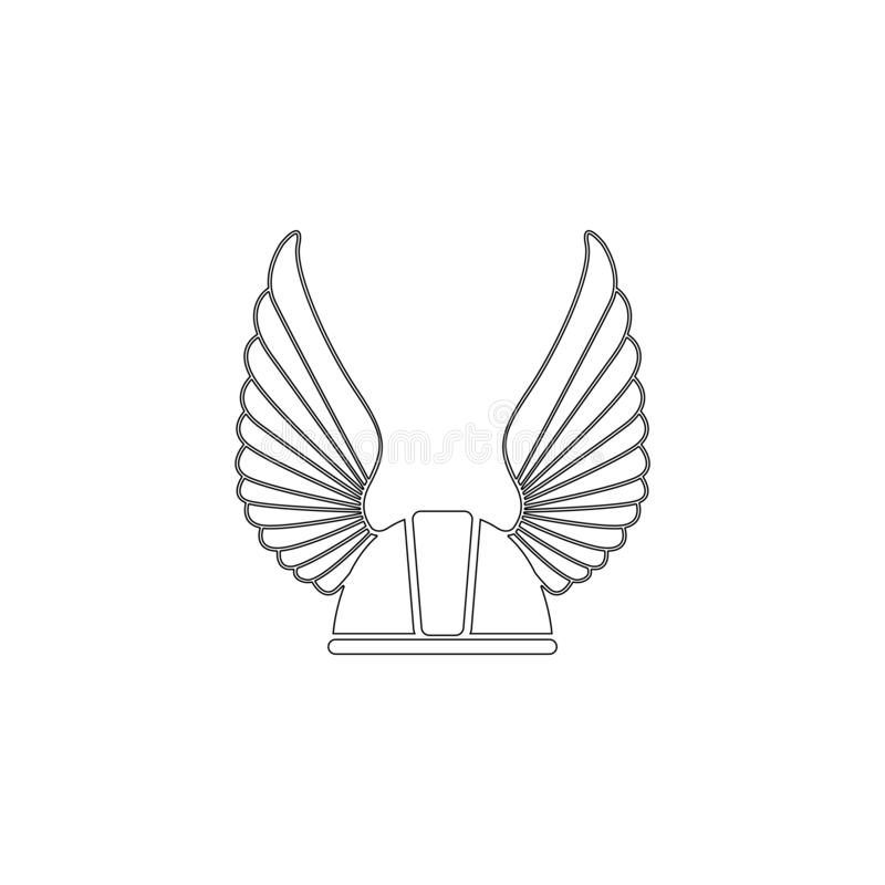 Winged racer helmet. flat vector icon royalty free illustration